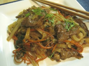 Rice Noodles with Beef & Mint